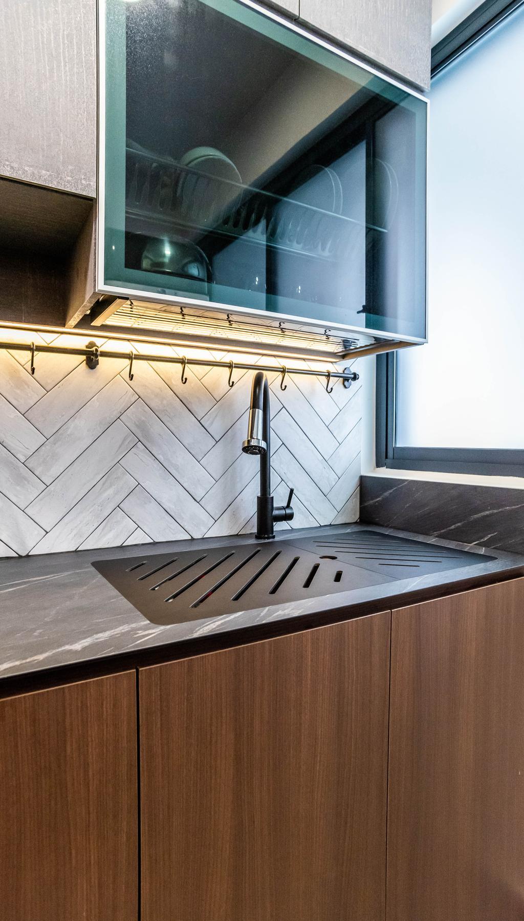Contemporary, HDB, Kitchen, Bidadari Park Drive, Interior Designer, Orange Interior