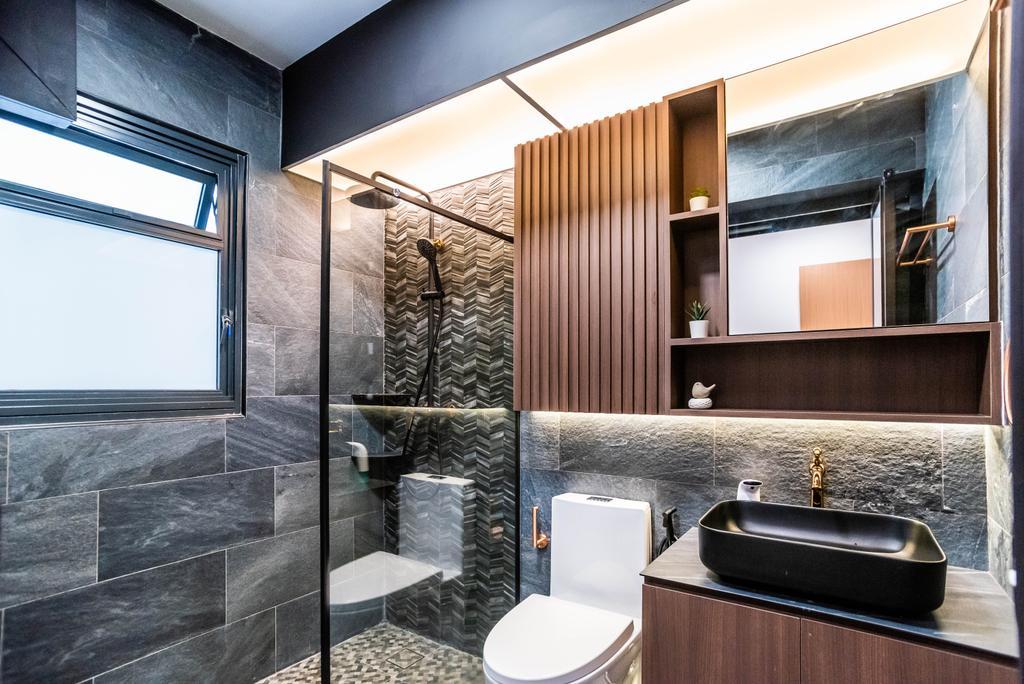 Contemporary, HDB, Bathroom, Bidadari Park Drive, Interior Designer, Orange Interior