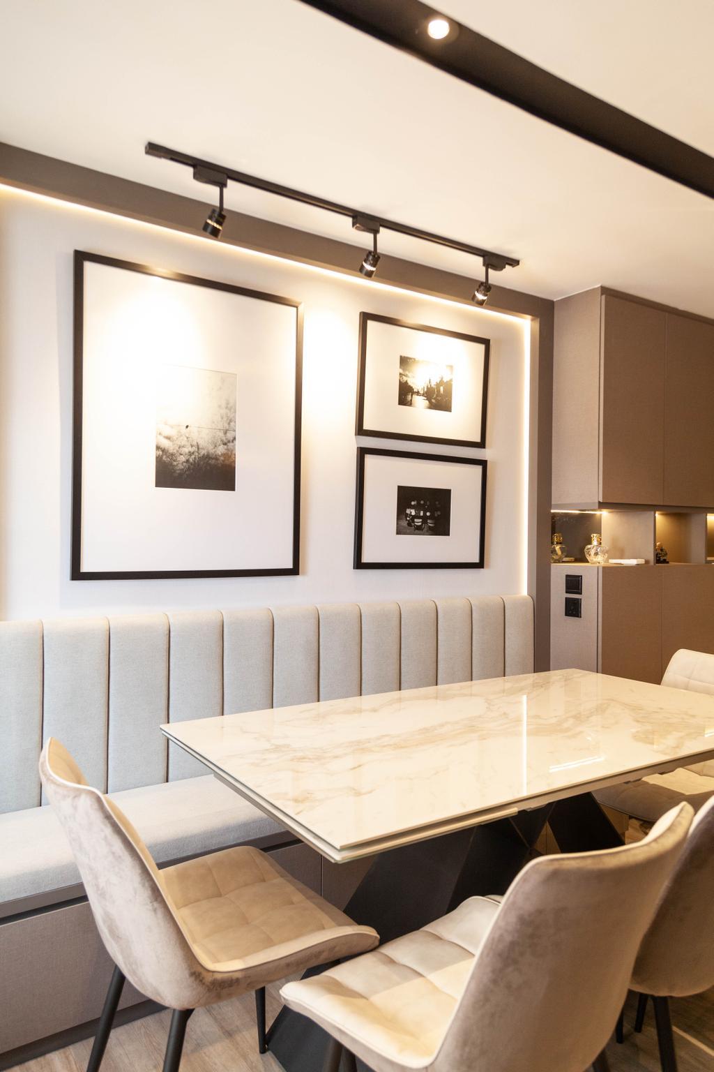Contemporary, HDB, Dining Room, Redhill Road, Interior Designer, Orange Interior