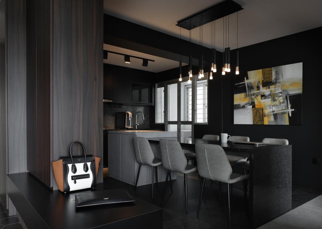 Contemporary, HDB, Dining Room, Canberra Road, Interior Designer, Ascend Design, Dark, Black