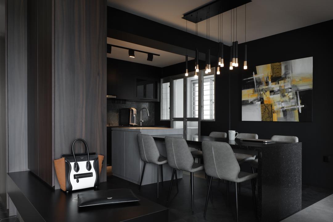 Canberra Road, Ascend Design, Contemporary, Dining Room, HDB, Dark, Black