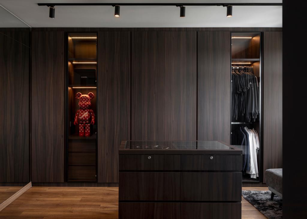 Contemporary, HDB, Bedroom, Canberra Road, Interior Designer, Ascend Design, Walk In Wardrobe, Dark, Accessories Island, Wardrobe
