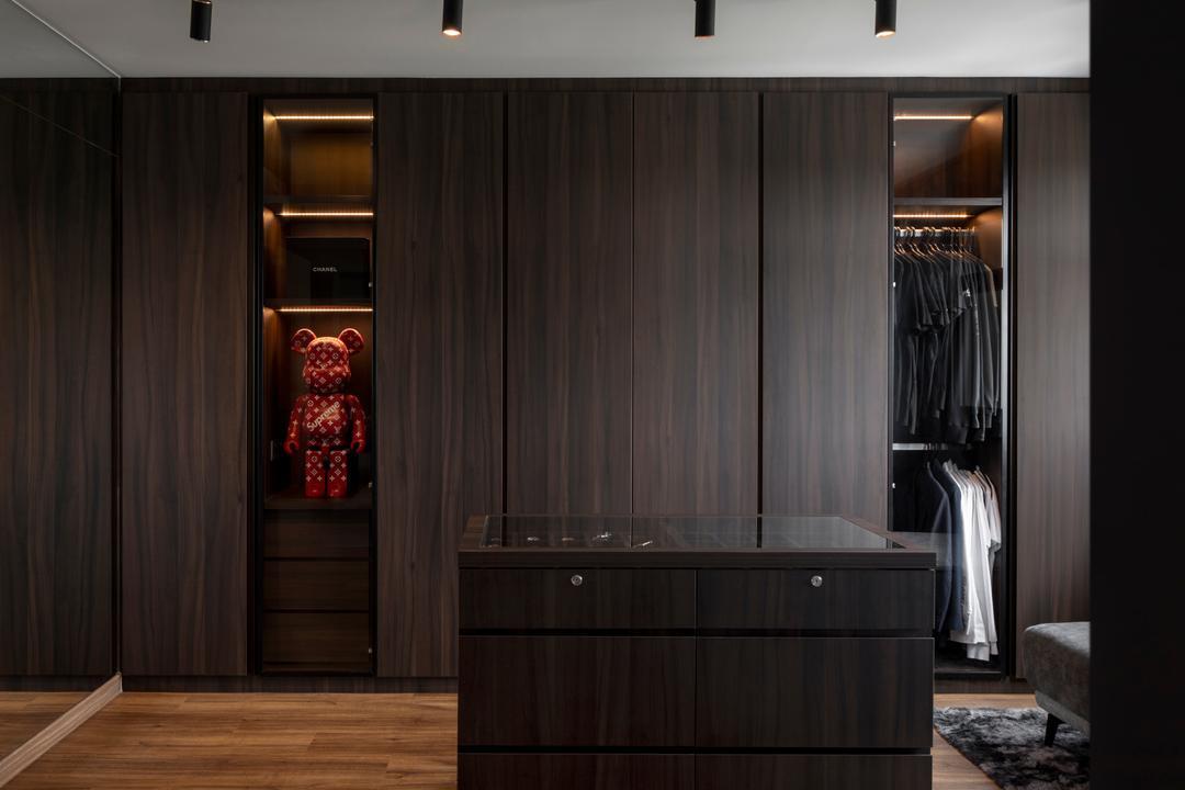 Canberra Road, Ascend Design, Contemporary, Bedroom, HDB, Walk In Wardrobe, Dark, Accessories Island, Wardrobe