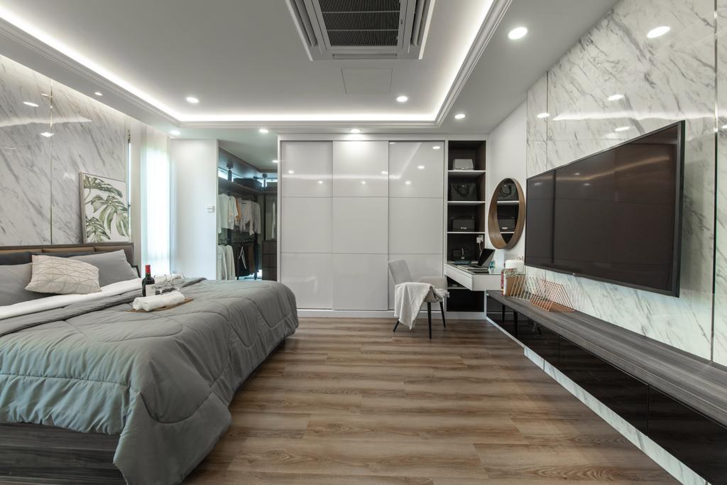 Modern, Landed, Bedroom, Grey Stone, Adda Height, Interior Designer, Fuyu Dezain Sdn. Bhd., Contemporary
