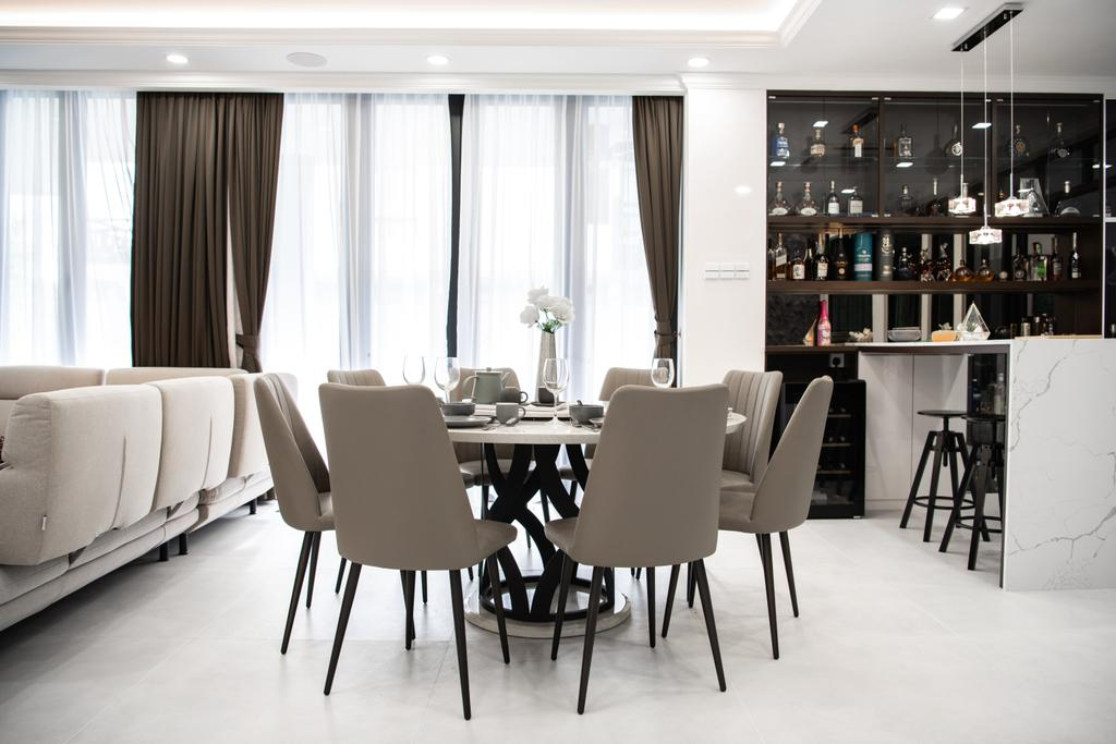 Modern, Landed, Dining Room, Grey Stone, Adda Height, Interior Designer, Fuyu Dezain Sdn. Bhd., Contemporary
