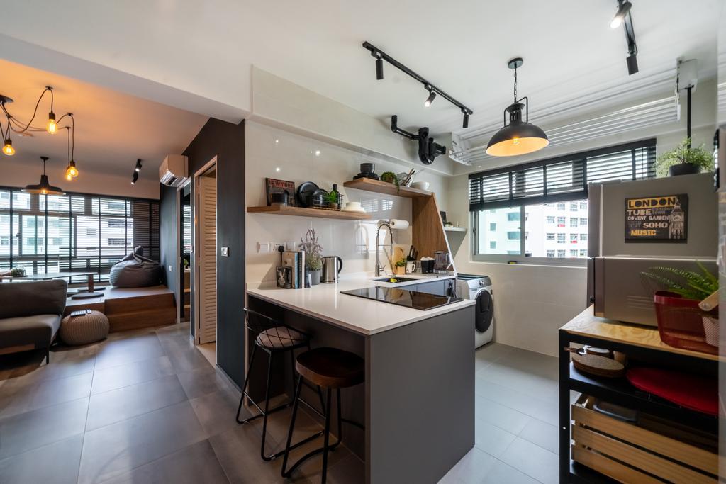 Industrial, HDB, Kitchen, Canberra Street, Interior Designer, Dots 'N' Tots, Contemporary