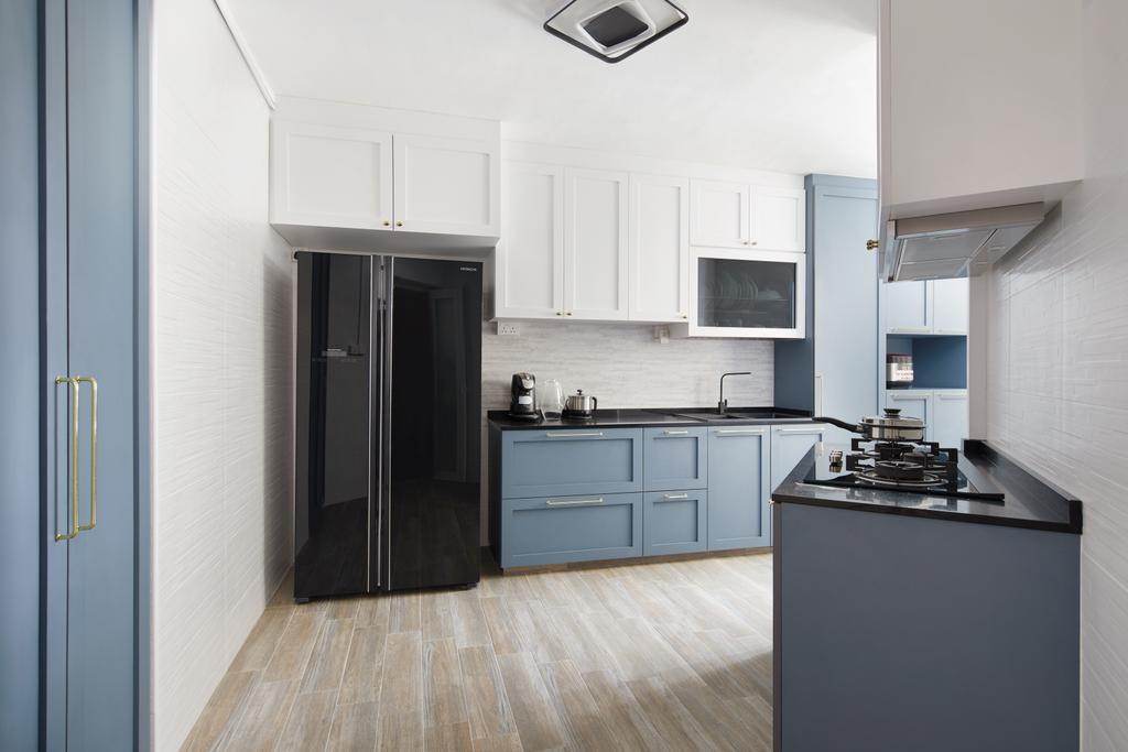 Contemporary, HDB, Kitchen, Woodlands Drive, Interior Designer, Dots 'N' Tots, Blue, Pastel