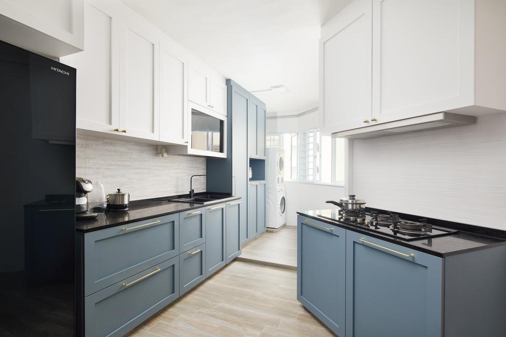 Contemporary, HDB, Kitchen, Woodlands Drive, Interior Designer, Dots 'N' Tots, Awkward Layout, Layout, Blue
