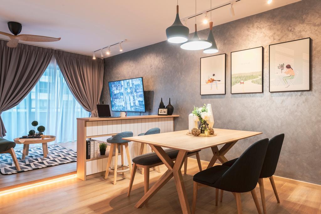 Scandinavian, HDB, Dining Room, Punggol Walk, Interior Designer, Thom Signature Design, Contemporary
