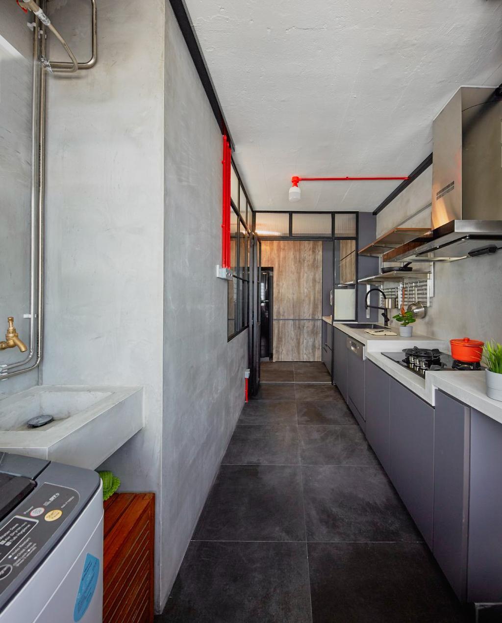 Industrial, HDB, Kitchen, Tampines Avenue 4, Interior Designer, MET Interior