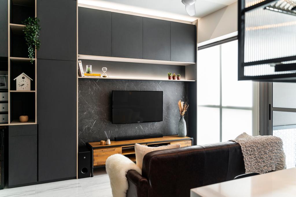Contemporary, Condo, Living Room, The Alps Residences, Interior Designer, Livspace