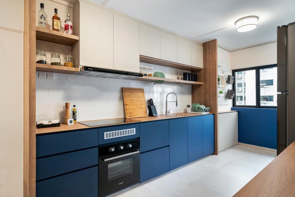 Scandinavian, HDB, Kitchen, Ang Mo Kio Avenue 3 (Block 231), Interior Designer, Livspace, Blue