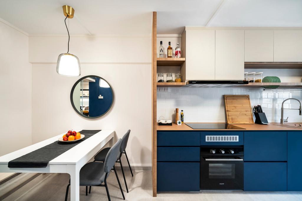 Scandinavian, HDB, Kitchen, Ang Mo Kio Avenue 3 (Block 231), Interior Designer, Livspace, Open Kitchen, Open Concept