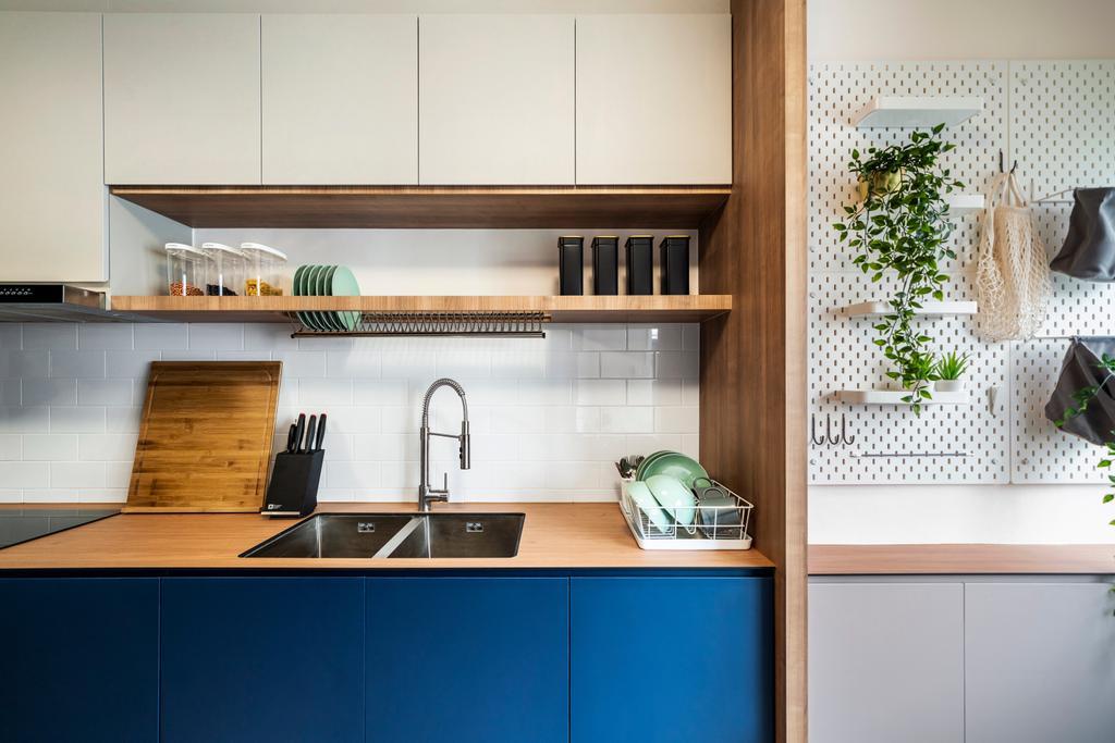 Scandinavian, HDB, Kitchen, Ang Mo Kio Avenue 3 (Block 231), Interior Designer, Livspace, Yard, Service Yard, Laundry