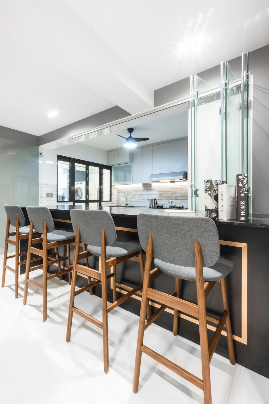 Contemporary, HDB, Kitchen, Tampines Street 61, Interior Designer, Flo Design