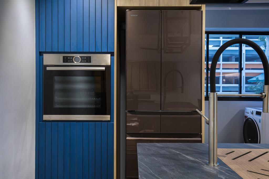 Contemporary, HDB, Kitchen, Toa Payoh Lorong 1, Interior Designer, Inizio Atelier, Scandinavian, Blue