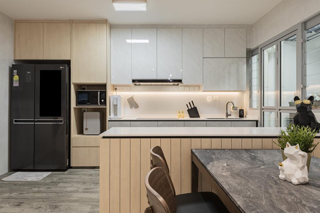 Contemporary, HDB, Kitchen, Tampines North, Interior Designer, Divine & Glitz