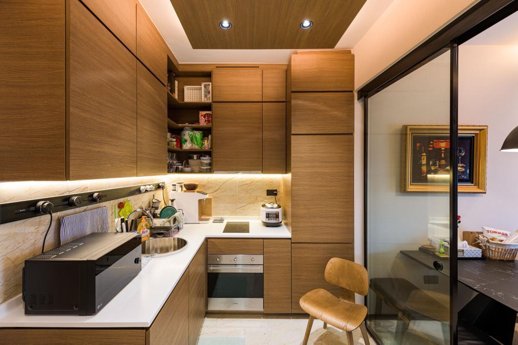 Contemporary, Condo, Kitchen, Queens Peak, Interior Designer, Orange Interior