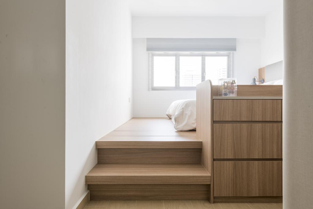 Scandinavian, HDB, Bedroom, St George Towers, Interior Designer, 13th Design Studio, Platform Bed