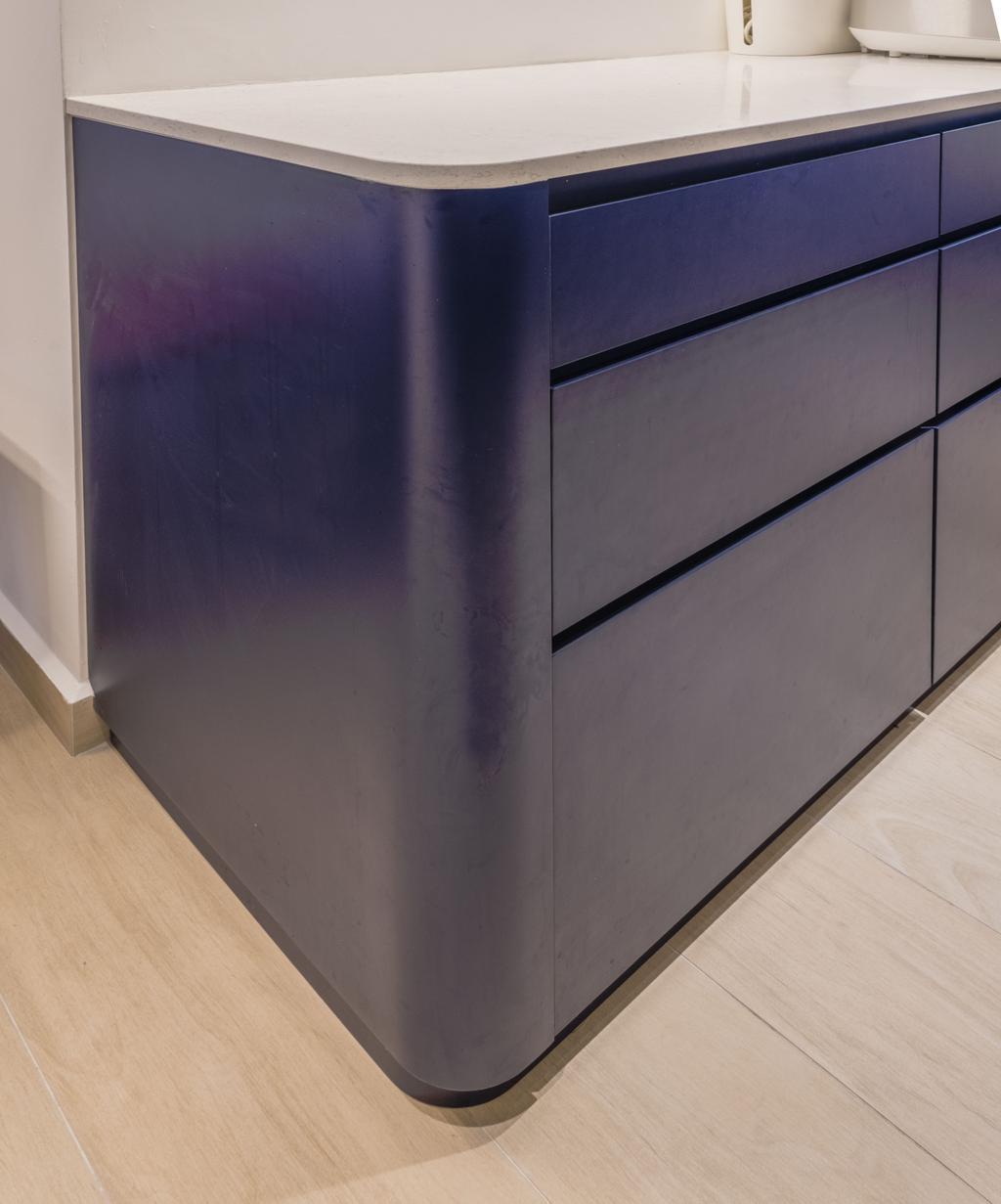 Scandinavian, HDB, Kitchen, St George Towers, Interior Designer, 13th Design Studio, Blue, Countertop