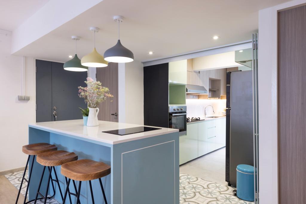 Contemporary, HDB, Kitchen, Commonwealth Avenue 3, Interior Designer, 13th Design Studio, Kitchen Island, Open Kitchen, Open Concept, Blue