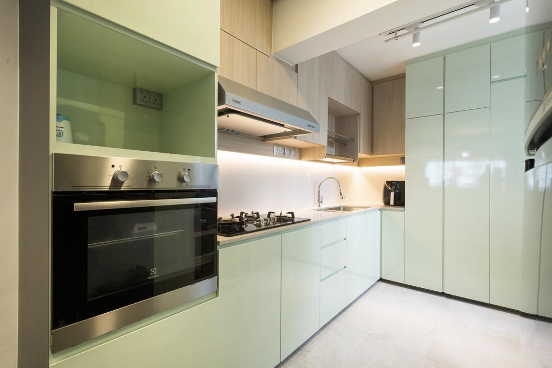 Commonwealth Avenue 3, 13th Design Studio, Contemporary, Kitchen, HDB, Green, Pastel, Mint