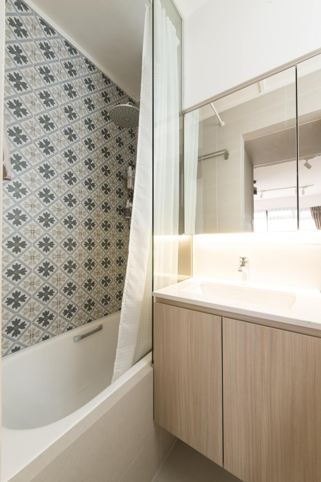 Contemporary, HDB, Bathroom, Commonwealth Avenue 3, Interior Designer, 13th Design Studio, Bathtub, Bath Tub, Tub