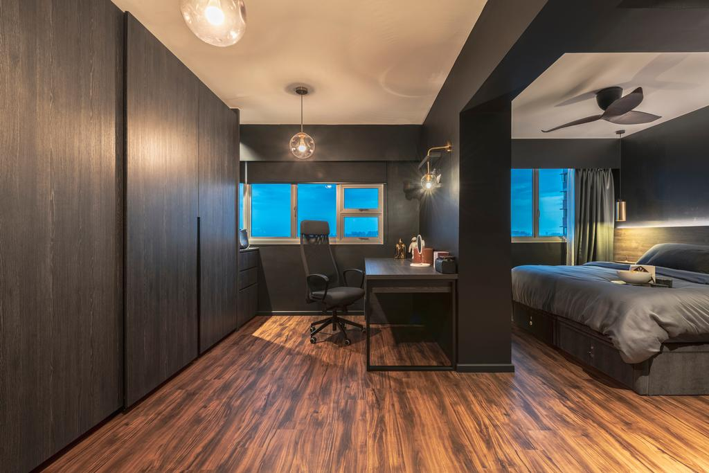 Contemporary, HDB, Bedroom, Ang Mo Kio Avenue 3, Interior Designer, 13th Design Studio, Walk In Wardrobe, Open Concept Wardrobe