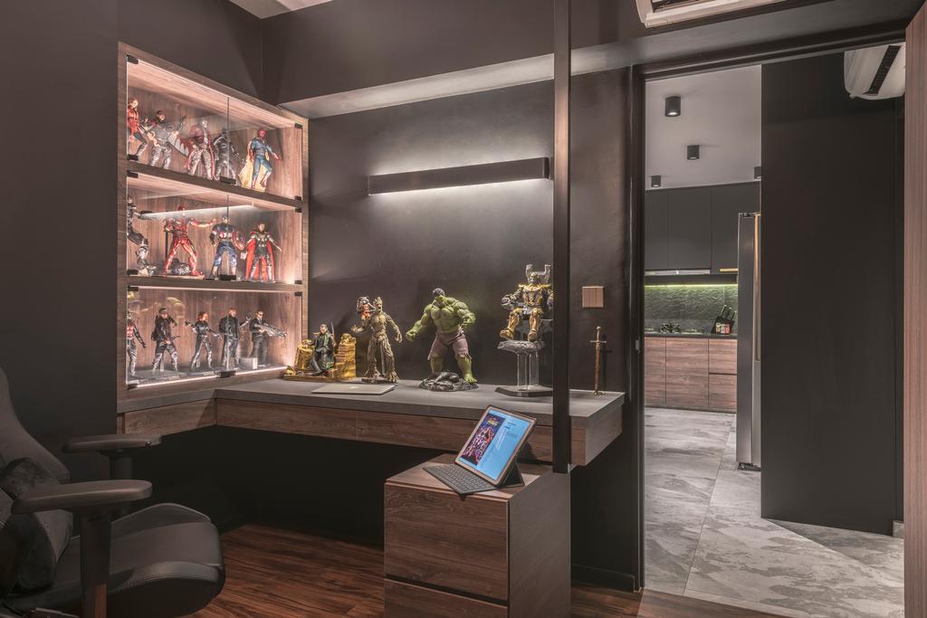 Contemporary, HDB, Bedroom, Ang Mo Kio Avenue 3, Interior Designer, 13th Design Studio, Display, Collectibles, Figurines
