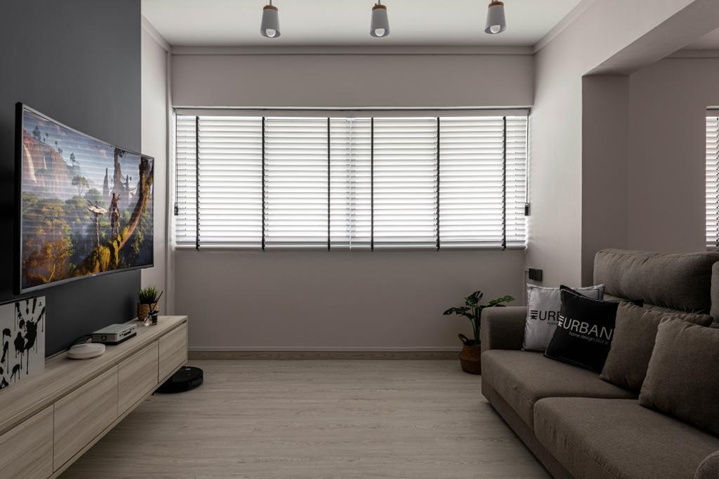 Scandinavian, HDB, Living Room, Sembawang Close, Interior Designer, Urban Home Design 二本設計家