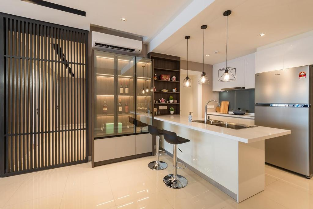 Modern, Condo, Kitchen, Westside lll Condominium, Desa Parkcity, Interior Designer, Solid Design Studio, Contemporary