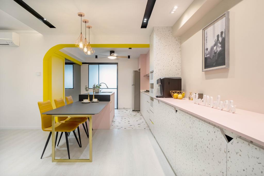 Contemporary, HDB, Dining Room, Jalan Rumah Tinggi, Interior Designer, The Makers Design Studio, Pink, Yellow, Feature Wall