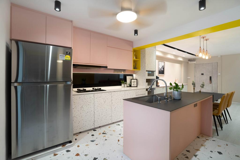 Contemporary, HDB, Kitchen, Jalan Rumah Tinggi, Interior Designer, The Makers Design Studio, Pink, Colourful