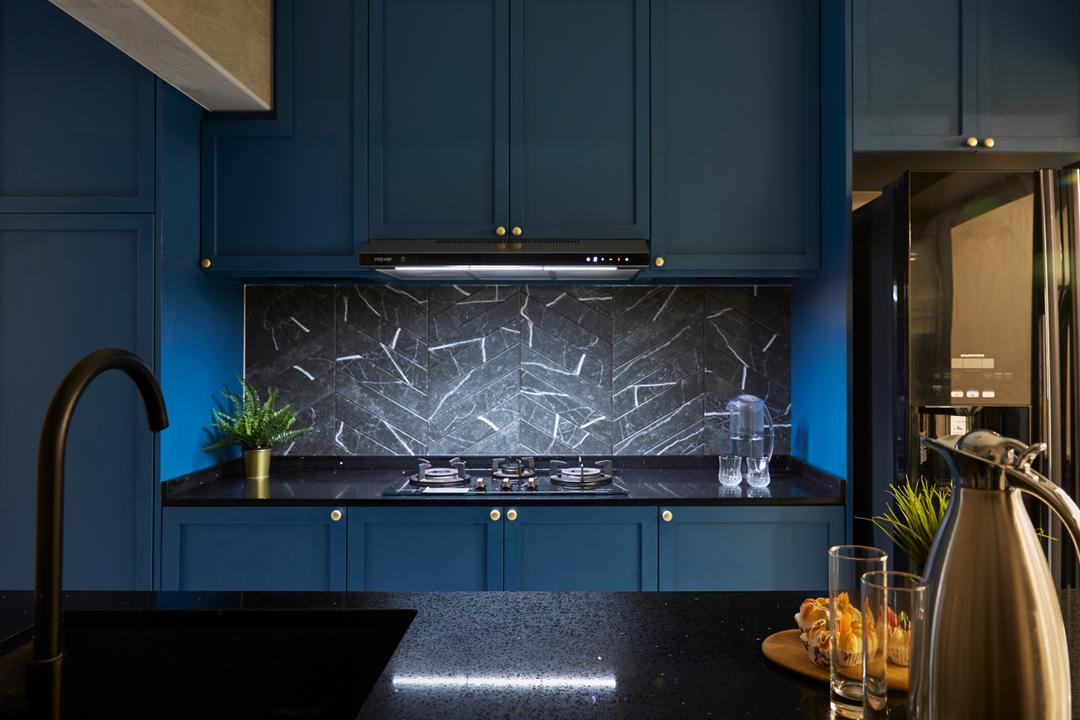 Bukit Batok Street 25, SHE Interior, Contemporary, Kitchen, HDB, Blue, Backsplash