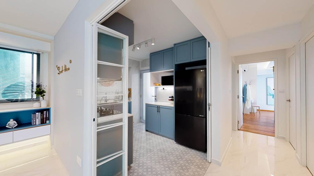 Contemporary, HDB, Kitchen, Pinnacle @ Duxton, Interior Designer, Posh Home, Open Kitchen, Open Concept, Corridor, Walkway, Hallway