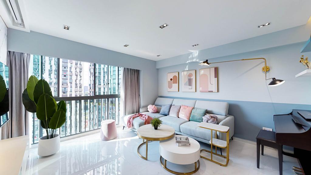 Contemporary, HDB, Living Room, Pinnacle @ Duxton, Interior Designer, Posh Home, Blue, Pastel