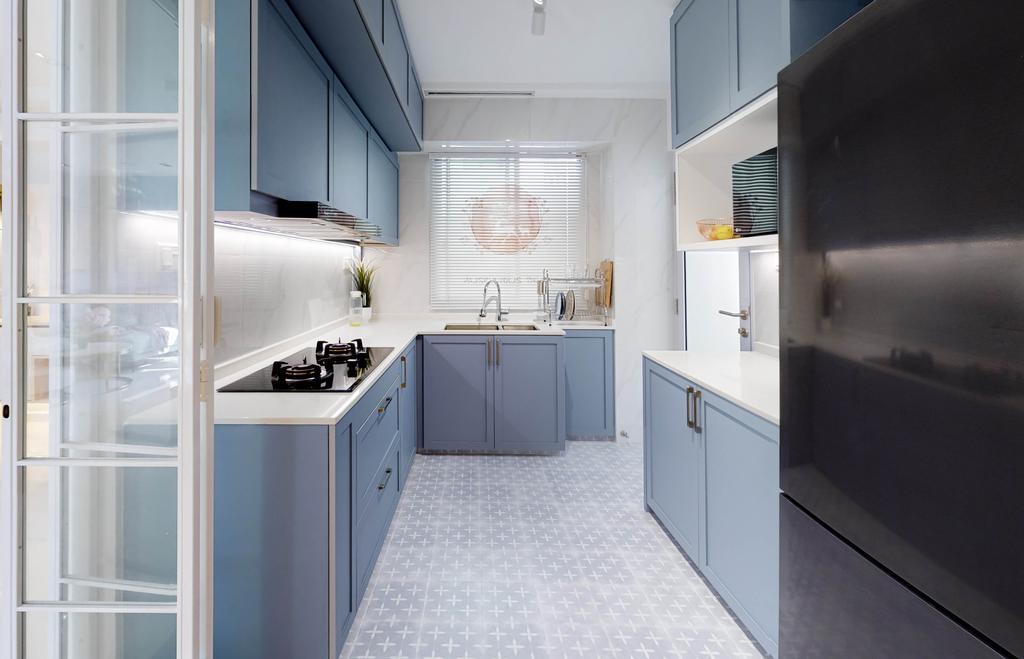 Contemporary, HDB, Kitchen, Pinnacle @ Duxton, Interior Designer, Posh Home, Blue
