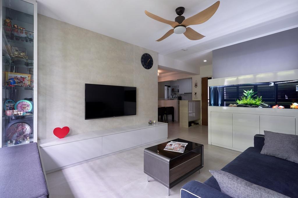 Modern, HDB, Living Room, Tampines Avenue 9 (Block 601C), Interior Designer, Roughsketch, Contemporary