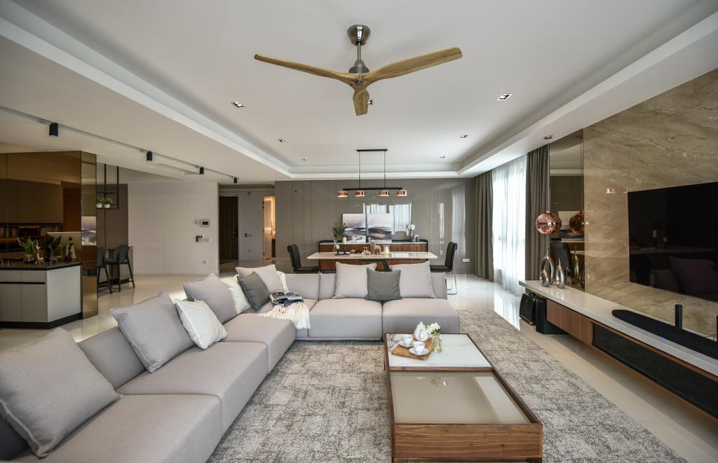 Modern, Landed, Living Room, R22, Mont Kiara, Interior Designer, Surface R Sdn. Bhd., Contemporary