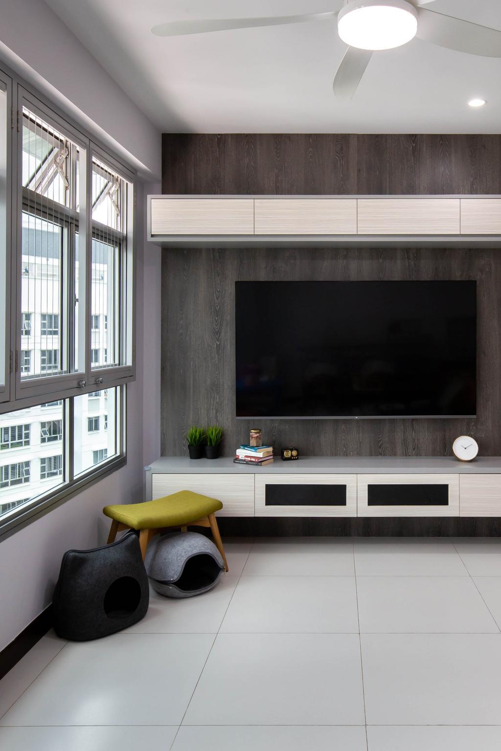 Modern, HDB, Living Room, Fernvale Link, Interior Designer, Yang's Inspiration Design, Contemporary