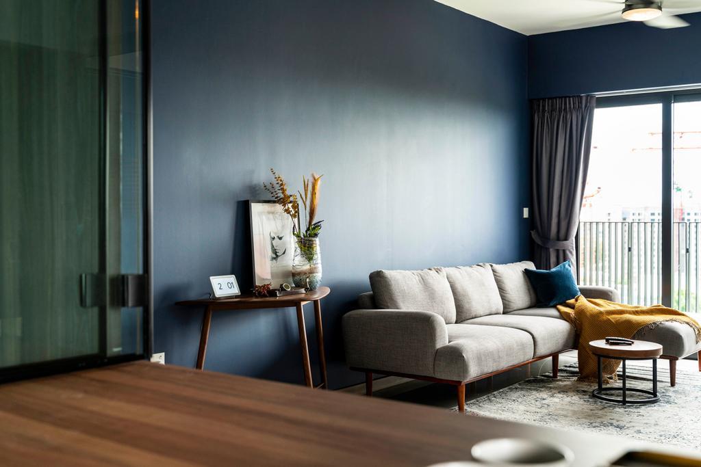 Contemporary, HDB, Living Room, Bidadari Park, Interior Designer, Livspace