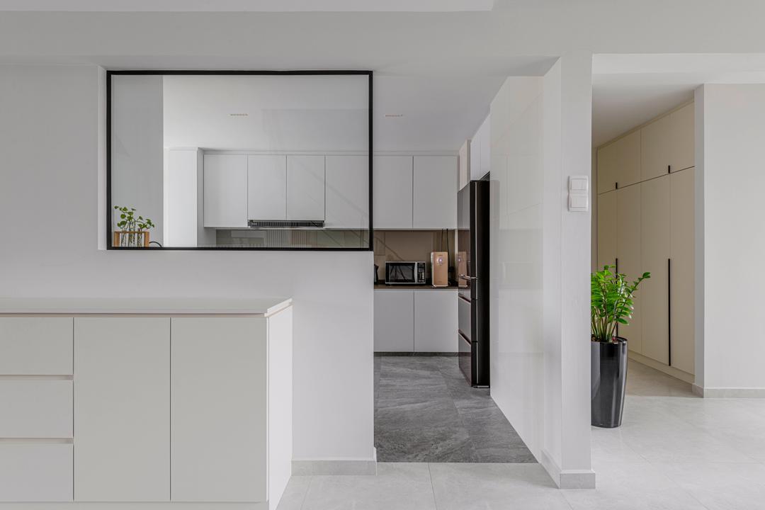 Jurong West Street 41, Ovon Design, Contemporary, Kitchen, HDB, Kitchen Island, Corridor