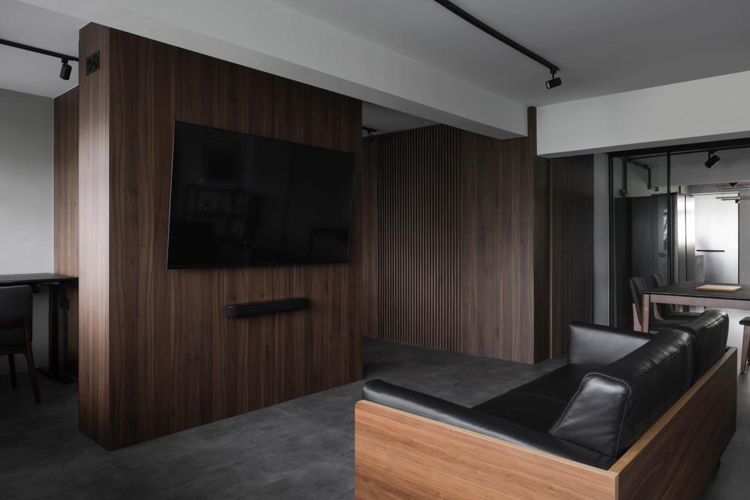 Telok Blangah Crescent, Ascend Design, Minimalistic, Living Room, HDB, Dark, Hotel Themed