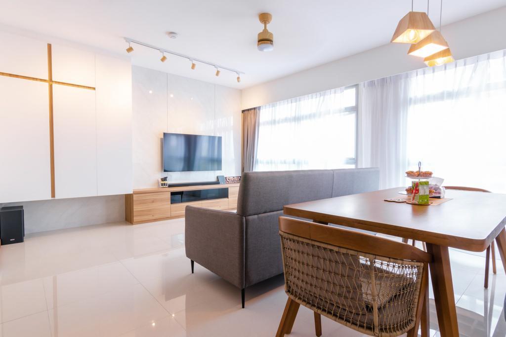 Modern, HDB, Living Room, Tampines North Drive 1, Interior Designer, 9 Creation, Contemporary