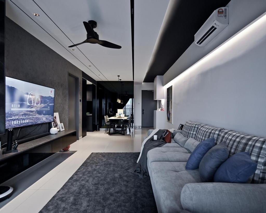 Modern, Condo, Living Room, Menara Simfoni (Symphony Tower), Balakong, Interior Designer, Viyest Interior Design, Minimalistic