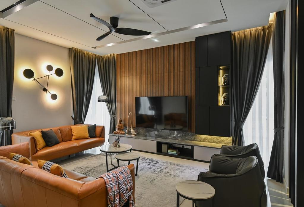 Modern, Landed, Living Room, Beverly Heights, Ampang, Interior Designer, Viyest Interior Design, Contemporary, Retro
