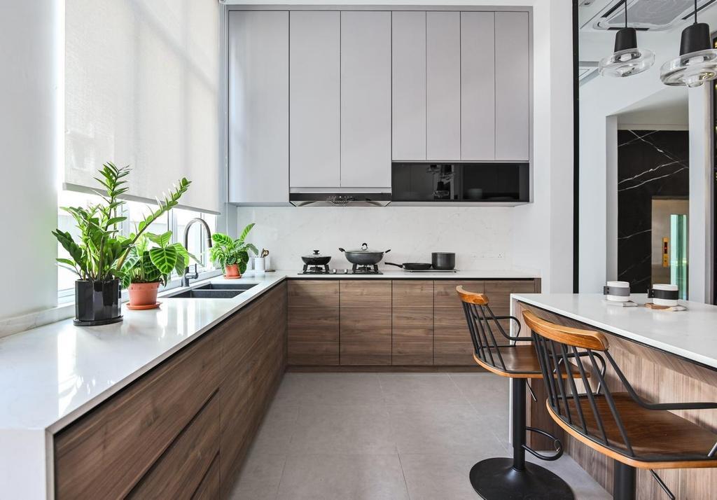 Modern, Landed, Kitchen, Beverly Heights, Ampang, Interior Designer, Viyest Interior Design, Contemporary, Retro