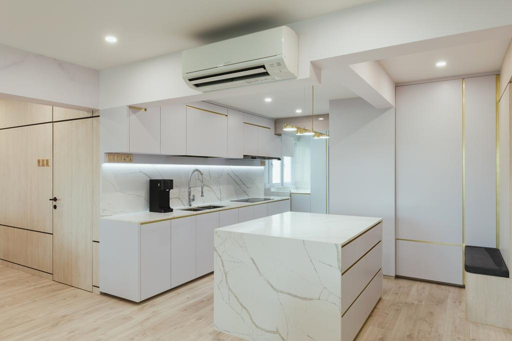 Modern, HDB, Kitchen, Clementi Avenue 2, Interior Designer, J Design & Build, Contemporary, Kitchen Island, Open Concept, Open Kitchen