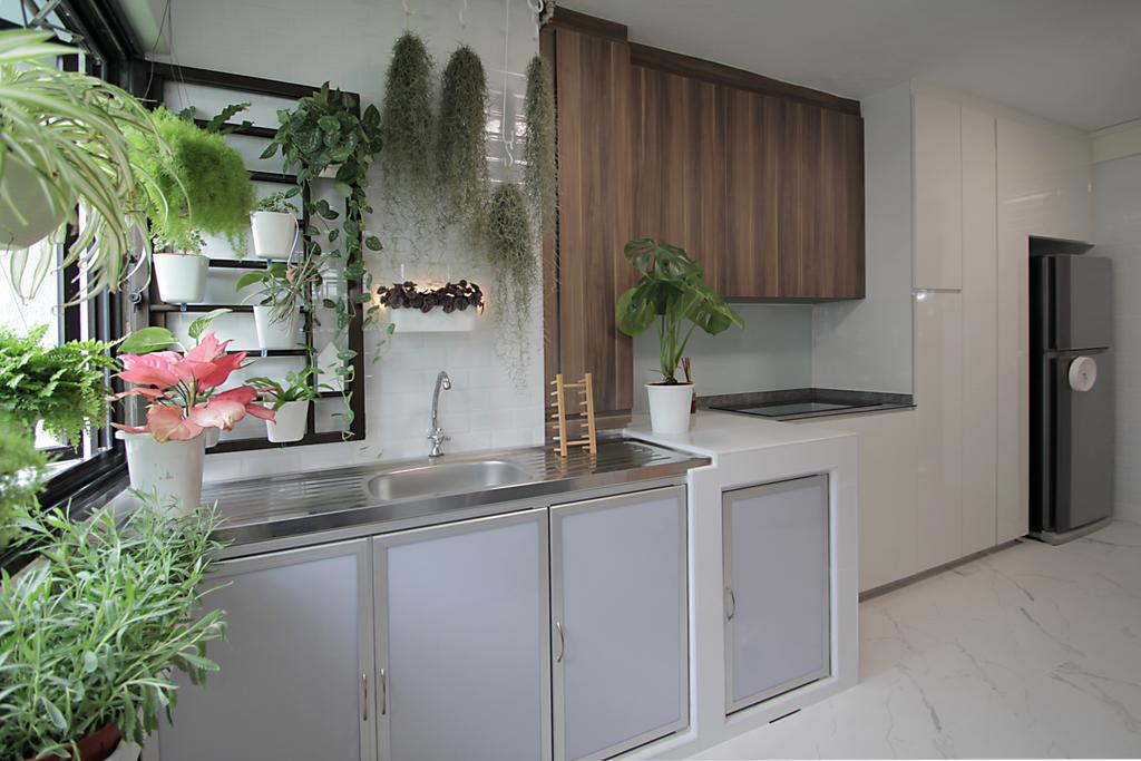 Modern, HDB, Kitchen, Bedok Reservoir Road, Interior Designer, Mesh Room Design, Service Yard, Yard, Plants