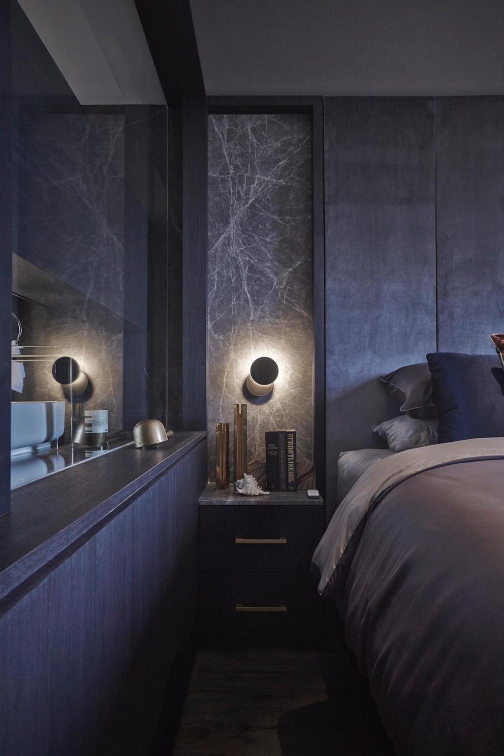 Contemporary, Condo, Bedroom, Parkview Apartments, Interior Designer, Honeycomb Design Studio, Luxe, Hotel Themed, Dark, Black